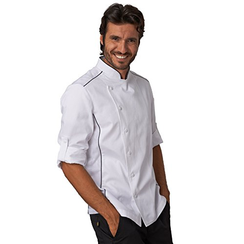 SIGGI - Giacca per cuoco 'Alex' in cotone drill 100% irrestringibile. Inserti traspiranti. Peso al mq. gr. 190. - Taglia: XXXL - Varianti: bianco