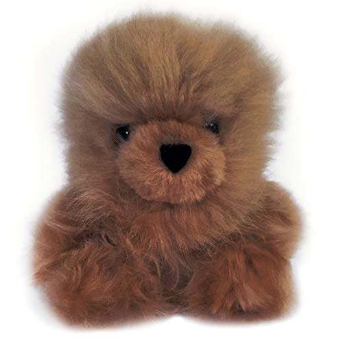 Baby Alpaca Fur Sitting Chubby Bear - Hand Made 5+ Inch Chocolate - Each Bear is Unique