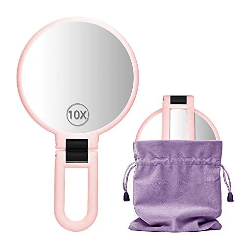 Dolovemk Miroir de maquillage de voyage avec support - Double face - Pliable - Grossissement x 10 - Avec poignée - Rose