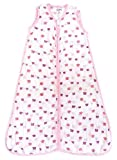 Mommy's hug Sleeping Bag with Zipper 100% Organic Cotton Muslin Very Soft (White Pink and Purple, XL18-36)