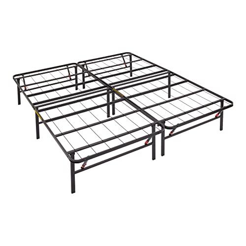 Amazon Basics Foldable, 14' Black Metal Platform Bed Frame with Tool-Free...