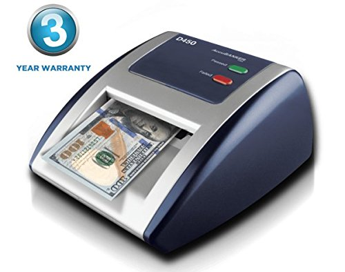 AccuBANKER D450 Counterfeit Money Checker Machine, Magnetic, Infrared, Watermark and Micro-printing Detection in less than 1 Second with Audible and Visual Alert for Suspicious Bill