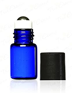 True Essence 3 ml, (3/4 Dram) Cobalt Blue Glass Micro Mini Roll-on Glass Bottles with Metal Roller Balls - Refillable Aromatherapy Essential Oil Roll On (12)