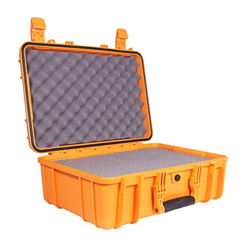 Condition 1 18quot Medium Waterproof Protective Hard Case with Foam Orange  18quot x 14quot x 7quot #801 Watertight IP67 Rated Dust Proof and Shock Proof TSA Approved Portable Trunk Carrier