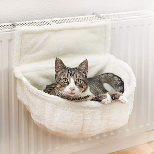 CanadianCat Company ®   Kuschelsack für Heizkörper   Weiß   45x13x33cm   Liegemuld für Katzen   verstellbare Bügel