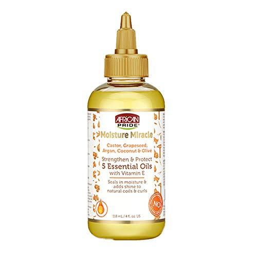 African Pride Moisture Miracle 5 Essential Oils - Contains Castor, Grapeseed, Argan, Coconut & Olive Oil, Seals in Moisture & Adds Shine, Vitamin E, 4 oz