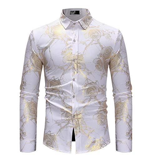 Chemise boutonnée pour Homme Confortable et Respirante Chemise à Manches Longues décontractée à la Mode Florale Fantaisie pour Toutes Les Saisons Medium