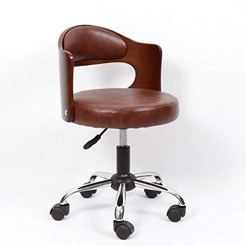 NCHEOI Drehhocker auf Rollen,Drehhocker,Vintage Design Stuhl, Bürodreh mit Rückenlehne Räder Verstellbarer Moderne Lounge Chair (Color : Brown)