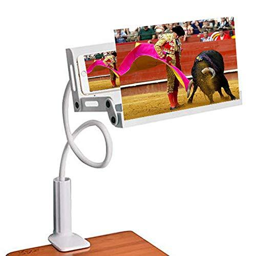 YOLE Mobile Lazy Staffa 3D Schermo HD Lente d'Ingrandimento, Pieghevole Pigro Staffa da 12 Pollici Pieghevole Multi-Funzione Creative Mobile Phone Staffa Anti-UV Anti-Radiazioni,White