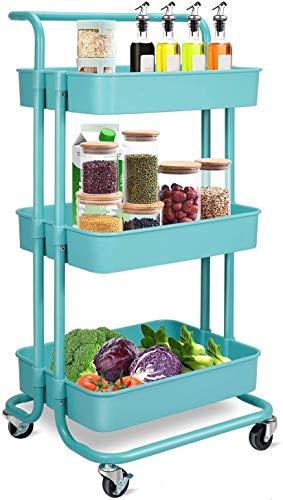 Carrito de almacenamiento – 3 niveles Rolling Utility Organizer Rack, Craft Art Cart, organizador multiusos, carro de servicio para oficina, baño, cocina, habitación infantil, lavandería, color azul