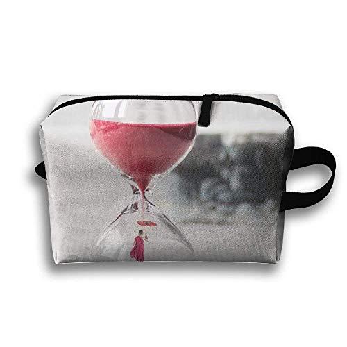 Tiempo de reloj Paraguas rojo Bolsa de maquillaje portátil de viaje, Bolsa...