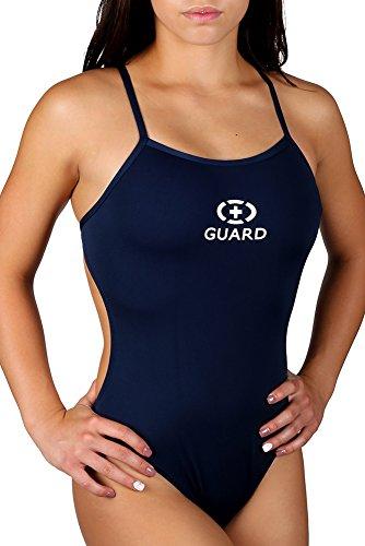 Adoretex Damen Lifeguard Badeanzug mit dünnen Trägern 26 navy