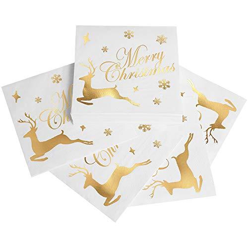 Servietten Weihnachten 32 Stück, weihnachten tischdeko, servietten gold, Elchmuster in Bronzieren, Verdickte 3-Lagen-Serviettenpapier, Weihnachtsbankett, weihnachtsservietten(33X33cm/6.5X6.5 Zoll)