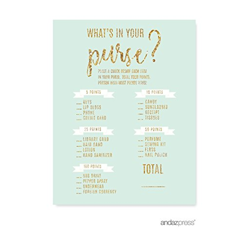 Andaz Press Mint Green Gold Glitter Print Wedding Collection, What's in Your Purse? Bridal Shower Game Cards, 20-Pack