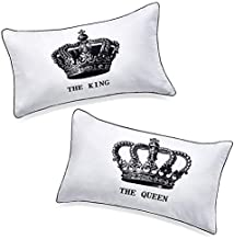 DasyFly His Hers King and Queen Couples Pillow Cases,Funny His and Hers gifts For Him,Annivesary Wedding Gifts For The Couple.Romantic Couples Gifts Idea For Christmas,Valentines Day