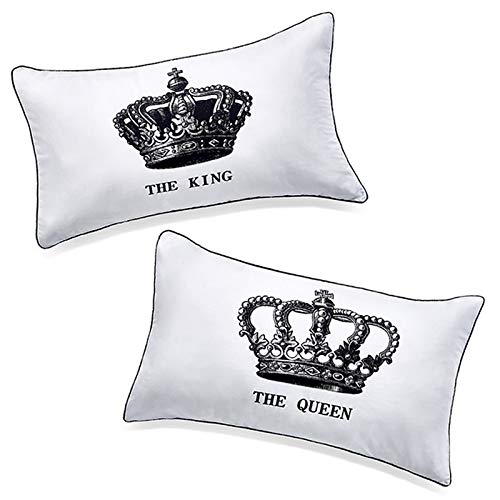 "Coppie di federe copricuscino con scritta ""the king"" e ""the queen"", idea regalo..."