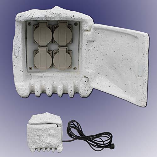 Trango 4-Fach IP44 Steckdosenstein Granit Optik STD4 für Ihren Garten Steckdosen für Außen inkl. ca. 5 Meter Zuleitung