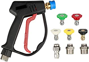 Sooprinse High Pressure Washer Gun 4000psi, High Pressure Spray Gun with 5 Quick Connect Nozzles,G1/4 Quick Connector Outlet with 3 pcs Inlet adapters G3/8 Quick Connector, M22-14mm, M22-15mm