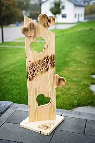 Holz Deko Schild geflammt Herzlich Willkommen NR2 Türschild