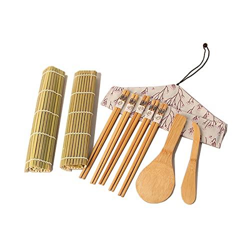 Rpanle Kit per Fare Sushi in Bambù, Sushi Kit Completo Professionale, Include 2 tappetini per sushi, 1 cucchiaio di riso in bambù, 4 paia di bacchette, 1 taglierina di bambù, 1 sacchetto di stoffa