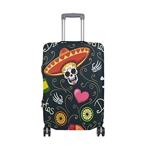 Funda protectora para maleta de viaje con diseño de calavera colorida, de elastano, para adultos, mujeres, hombres, adolescentes, para 18 a 20 pulgadas