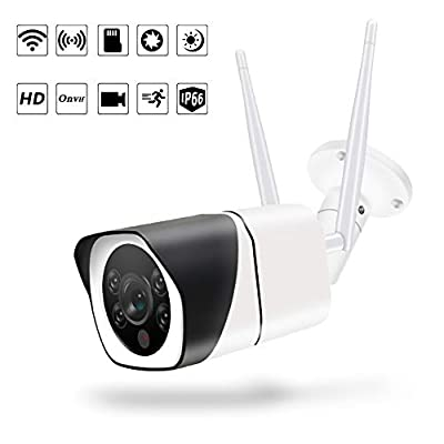 Outdoor WiFi Security Camera,1080P IP66 Waterproof Camera with Floodlight and Siren Alarm Two-Way Audio, Smart Night Vision Motion Detection Surveillance System with Cloud Service