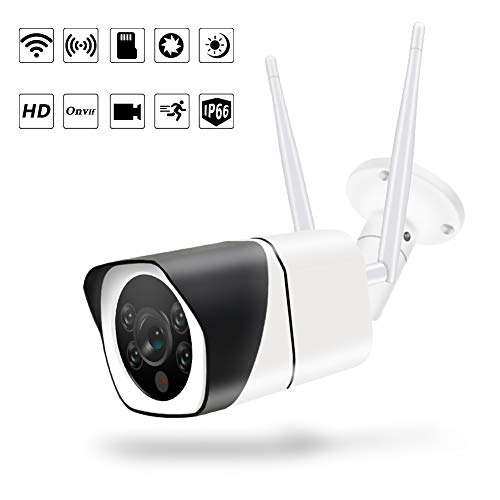 Outdoor WiFi Security Camera,1080P IP66 Waterproof Camera with Floodlight and Siren Alarm Two-Way Audio, Smart Night Vision Motion Detection Surveillance System with Cloud Service Bullet Cameras