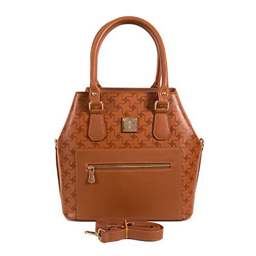 Hengseltas dames als modieuze Tote-Bag | Handtas elegant als schoudertas | Dames handtas veganistisch met veel ruimte | Handtas met schouderriem van Gio&Mi (Cognac)