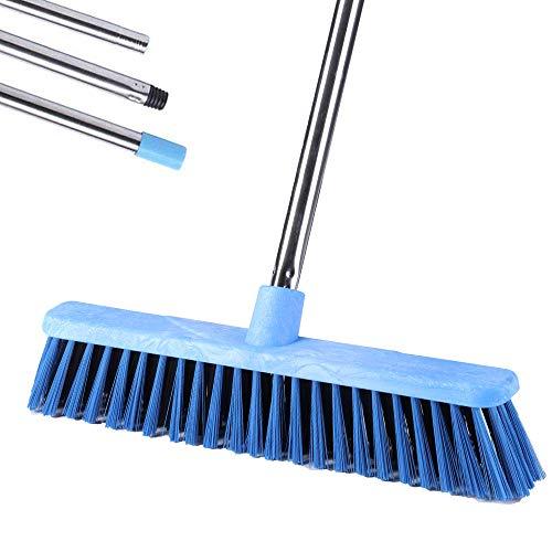 YONILL Outdoor Push Broom, 48' Scrub Deck Brush for Scrubbing, Heavy Duty Stiff Bristle Broom for Rough Surface, Patio, Garden, Garage, Boat, Concrete and Tile Floor