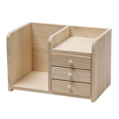 Organizzatore del desktop dell'ufficio del legno con cassetto della tavola del cassetto dell'armadio della scatola di finitura cosmetica per la bookshelf per la vanità dell'artigianato domestico