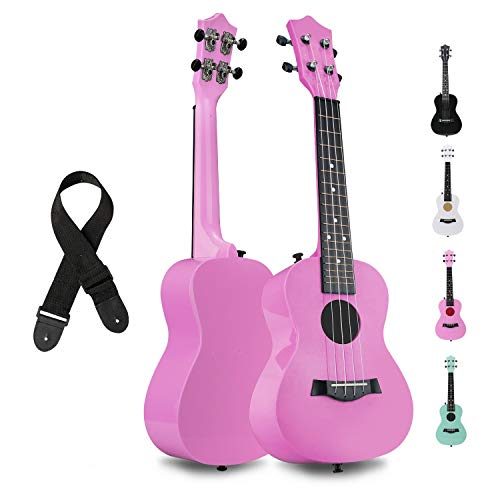 FUYXAN Concert Ukulele with Accessories Nylon Strings Strap, 23 Inch Pink Ukulele for Students Beginners Kids, Hawaiian Guitar Starter Uke Musical Instrument for Gift