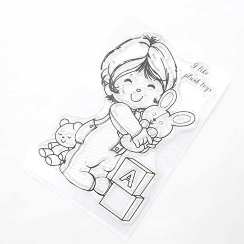 Mmnas Transparenter Silikon Clear Kids Plush Toy Stempel für Scrapbooking DIY Photo Album Decor