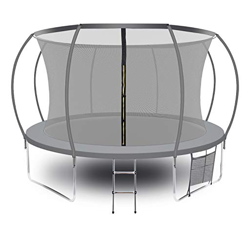 AOTOB 12FT Trampoline for Kids with Safety Enclosure Net-Gray Outdoor Trampoline, Ladder Kids Trampoline,Pumpkin Trampolines Spring Pad, Combo Bounce Jump Trampoline