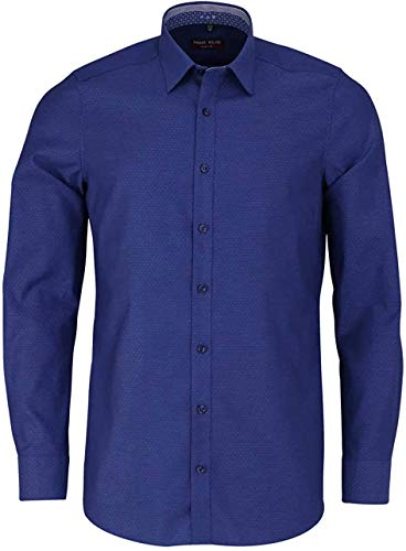 Marvelis Body Fit Hemd Langarm New Kent Kragen Muster blau Größe 43