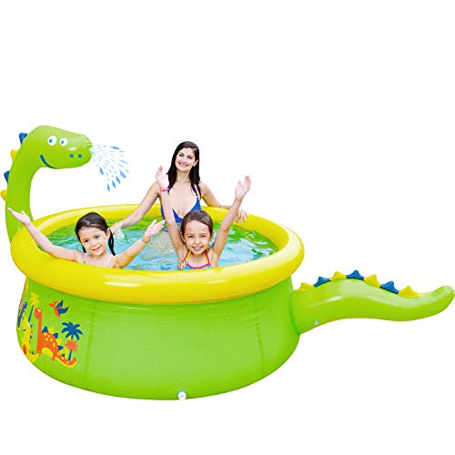 """Lunvon Inflatable Swimming Pool for Kids, Dinosaur Pool Sprinkler Water Toys, Size 65"""" X 20"""", Kiddie Pool for Age 3+"""