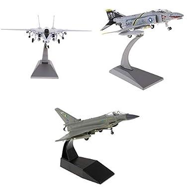 Bonarty 3Pieces F-4 Phantom F-14 Tomcat EF-2000 Fighter Diecast Air Interception Aircraft Model Toy Model 1/100