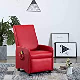 Tidyard Poltrona Massaggiante Reclinabile Rossa in Similpelle, Poltrona Elettrica,Poltrona Massaggiante,Poltrona Relax