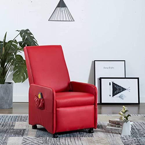 UnfadeMemory Elektrischer Massagesessel Kunstleder Massage Armsessel Relaxsessel Fernsehsessel mit Wärmefunktion im Taillenbereich Liegefunktion 8-Punkte-Massage 65 x 83 x 101 cm (Rot)