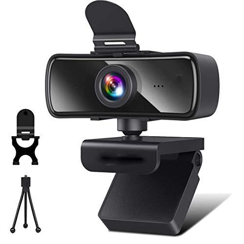 Webcam mit Mikrofon,2K HD Webcam mit Abdeckung & Autofokus,USB 2.0 Plug&Play Kamera für Desktop und Laptop Video Konferenzen,Online-Unterricht und Live-Streaming,Kompatibel mit Windows,Linux und MacOS