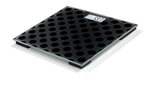 Soehnle Personenwaage Maya Digital Black Edition Circles in eleganter Optik, kompakte Personen Digitalwaage, energiesparende Waage mit LCD-Anzeige, Körperwaage inkl. Batterien