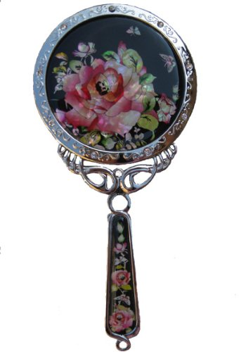 Handheld hand mirror, handmade mother of pearl gift, rose by Silver J