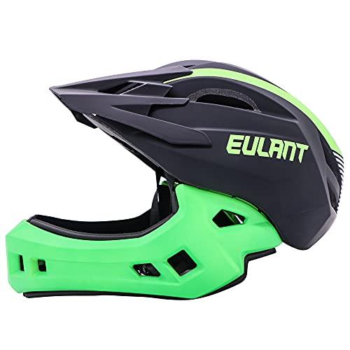 EULANT Aktualisierter Fullface-Helm für Kinder, Kinderhelm mit Kinnschutz, Fahrradhelm für Mädchen und Jungen im Alter von 2-10 Jahren, passt Kopfgröße 48-56,Schwarz/Grün S