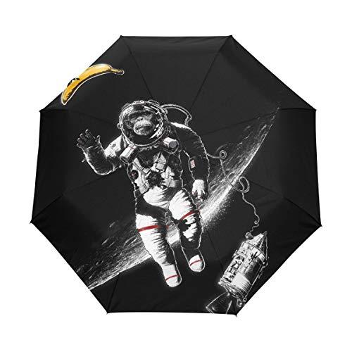 Kleiner Regenschirm Winddicht Regen im Freien Sonne UV Auto Compact 3-Fach Regenschirmabdeckung - EIN Space Shuttle, das den Mond umkreist