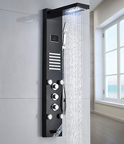 Saeuwtowy Columna de Hidromasaje Ducha Moderna 5 Función con Luces Led Panel de Ducha Hidromasaje Columna de Hidromasaje de Ducha de Cascada de Acero Inoxidable Negro