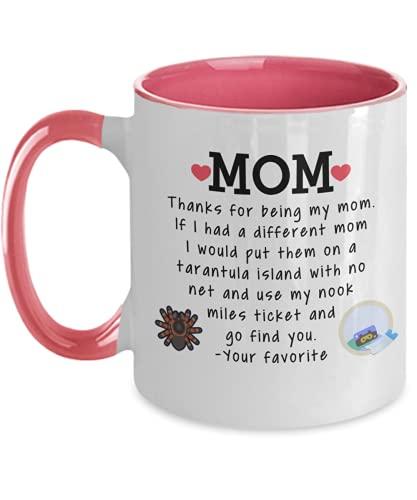 Animal Crossing Mom Coffee Mug 11 oz or 15 oz Mom Birthday Mother's Day Mom Christmas ACNH Tarantula Nook Miles Ticket Two Tone