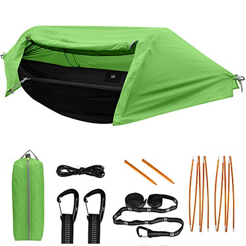 TianYaOutDoor Camping Hammock with Mosquito Net and Rainfly Lightweight Portable Sleeping Hammock Tent Backpacker Travel Outdoor Gear (Green)