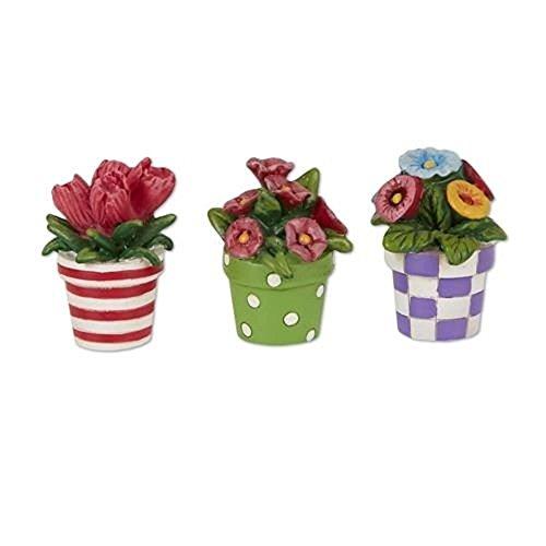Studio M Merriment Fairy Garden Mini Patterned Potted Flowers Set of 3