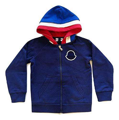 Moncler Junior Felpa con Cappuccio Tricolore Maglia da Bambino 8G70620 Blu (6 Anni)
