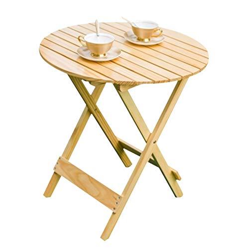 Tavolo Pieghevole Balcone Giardino in Legno Massello in Legno da Esterno Campeggio Portatile da Picnic da Viaggio per Interni Piccoli Tavolini da caffè (Color : Natural, Size : 60 * 65cm)