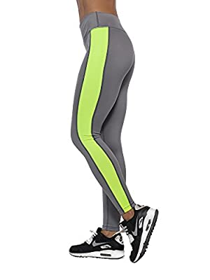 Active1st Women's Workout Leggings - USA Made, Ultra Soft, High Waist/Full Length, Sports & Exercise Pants - Small Grey/Yellow